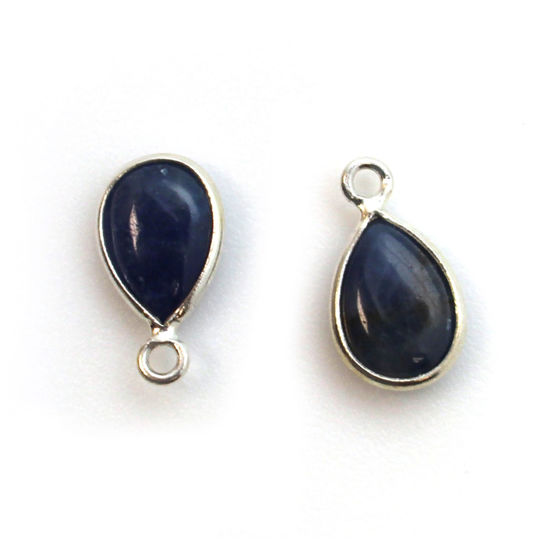 Bezel Charm Pendant - Sterling Silver Charm - Natural Blue Sapphire - Tiny Teardrop Shape