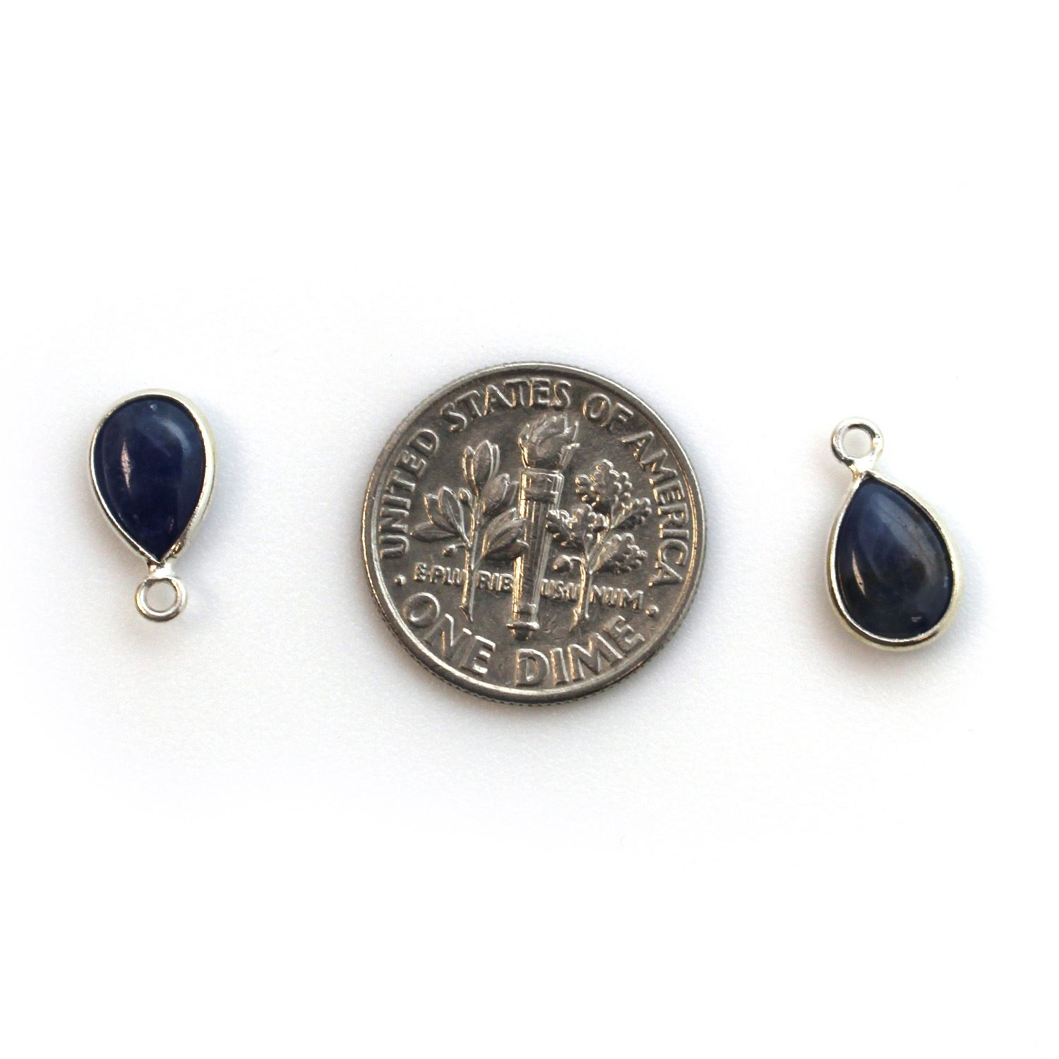 Bezel Charm Pendant - Sterling Silver Charm - Natural Blue Sapphire - Tiny Teardrop Shape