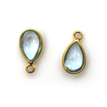 Bezel Charm Pendant - Gold Plated Sterling Silver Charm - Natural Sky Blue Topaz - Tiny Teardrop Shape