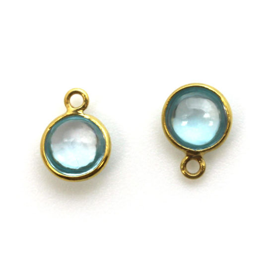 Bezel Charm Pendant - Gold Plated Sterling Silver Charm - Natural Sky Blue Topaz - Tiny Round Shape