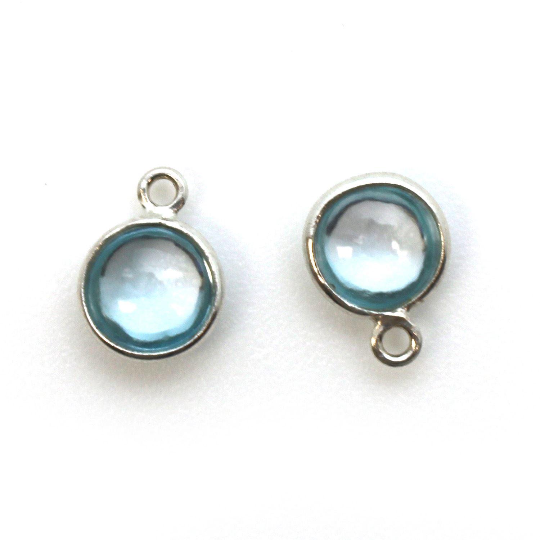 Bezel Charm Pendant - Sterling Silver Charm - Natural Sky Blue Topaz - Tiny Round Shape