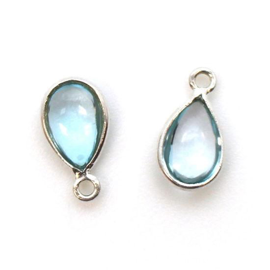 Bezel Charm Pendant - Sterling Silver Charm - Natural Sky Blue Topaz - Tiny Teardrop Shape
