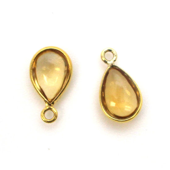 Bezel Charm Pendant - Gold Plated Sterling Silver Charm - Natural Citrine - Tiny Teardrop Shape