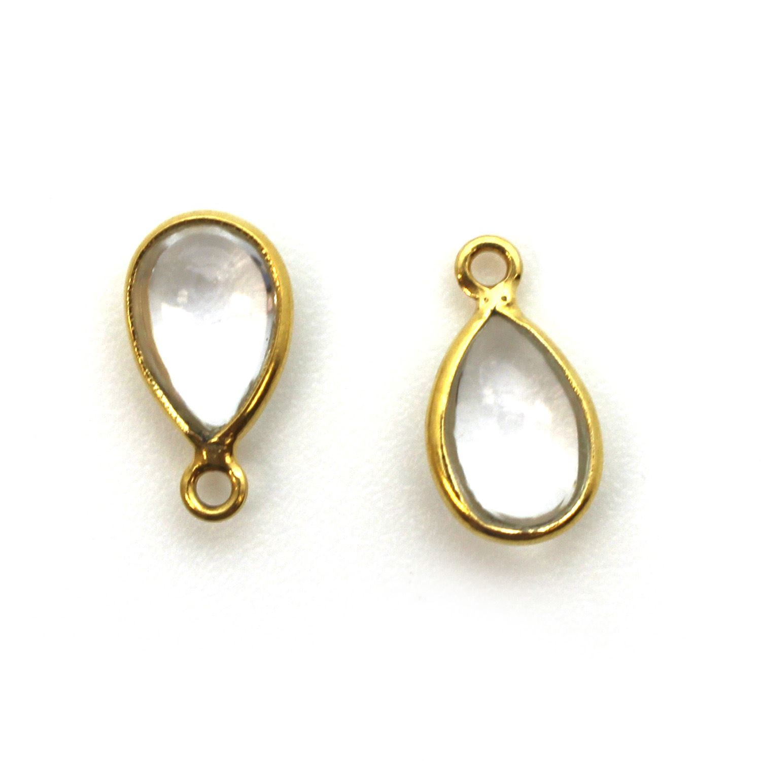 Bezel Charm Pendant - Gold Plated Sterling Silver Charm - Natural Crystal - Tiny Teardrop Shape