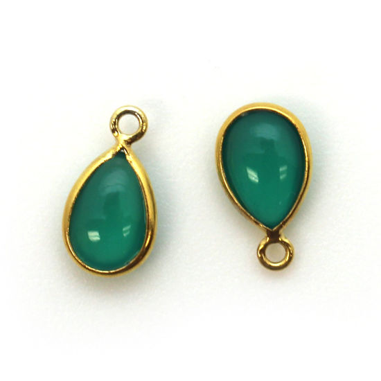 Bezel Charm Pendant - Gold Plated Sterling Silver Charm - Natural Green Onyx - Tiny Teardrop Shape