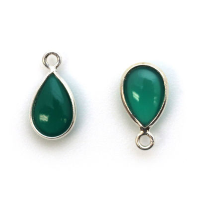 Bezel Charm Pendant - Sterling Silver Charm - Natural Green Onyx - Tiny Teardrop Shape