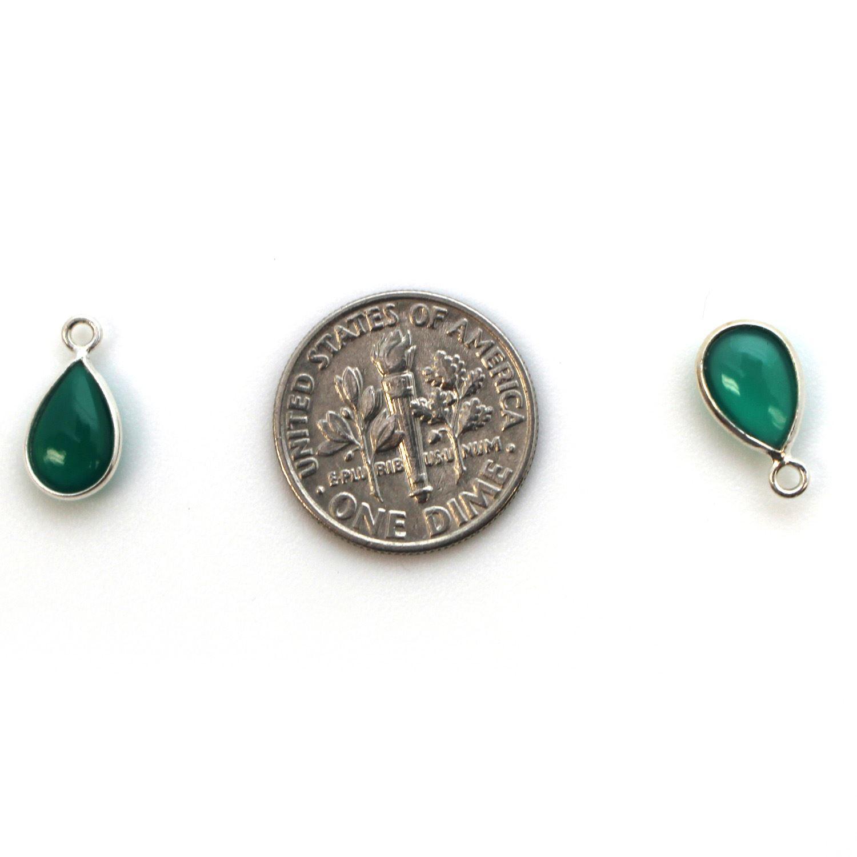 Bezel Charm Pendant - Sterling Silver Charm - Natural Green Onyx - Tiny Teardrop Shape