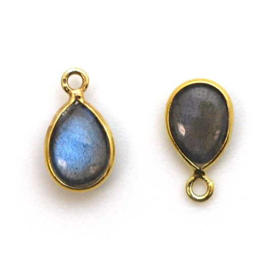 Bezel Charm Pendant - Gold Plated Sterling Silver Charm - Natural Labradorite - Tiny Teardrop Shape