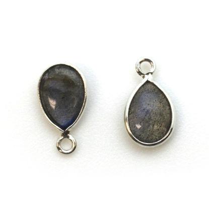 Bezel Charm Pendant - Sterling Silver Charm - Natural Labradorite - Tiny Teardrop Shape