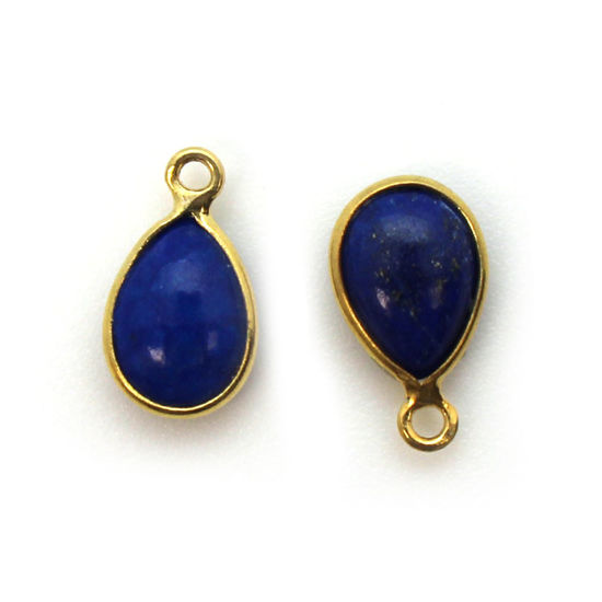 Bezel Charm Pendant - Gold Plated Sterling Silver Charm - Natural Lapis Lazuli - Tiny Teardrop Shape