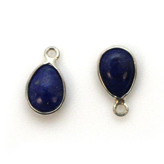 Bezel Charm Pendant - Sterling Silver Charm - Natural Lapis Lazuli - Tiny Teardrop Shape