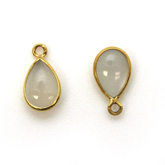 Bezel Charm Pendant - Gold Plated Sterling Silver Charm - Natural Moonstone - Tiny Teardrop Shape