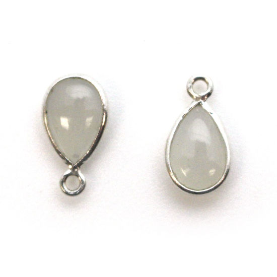 Bezel Charm Pendant - Sterling Silver Charm - Natural Moonstone - Tiny Teardrop Shape