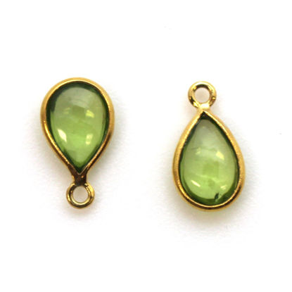 Bezel Charm Pendant - Gold Plated Sterling Silver Charm - Natural Peridot - Tiny Teardrop Shape