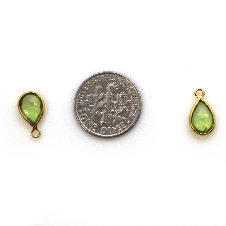 Bezel Charm Pendant - Gold Plated Sterling Silver Charm - Natural Peridot - Tiny Teardrop Shape