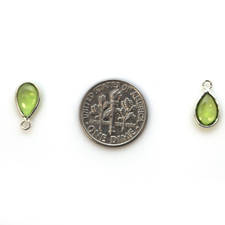 Bezel Charm Pendant - Sterling Silver Charm - Natural Peridot - Tiny Teardrop Shape
