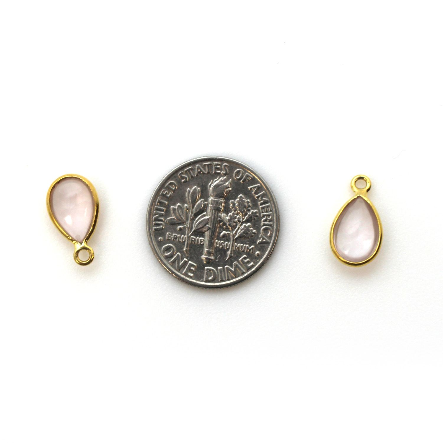 Bezel Charm Pendant - Gold Plated Sterling Silver Charm - Natural Rose Quartz - Tiny Teardrop Shape