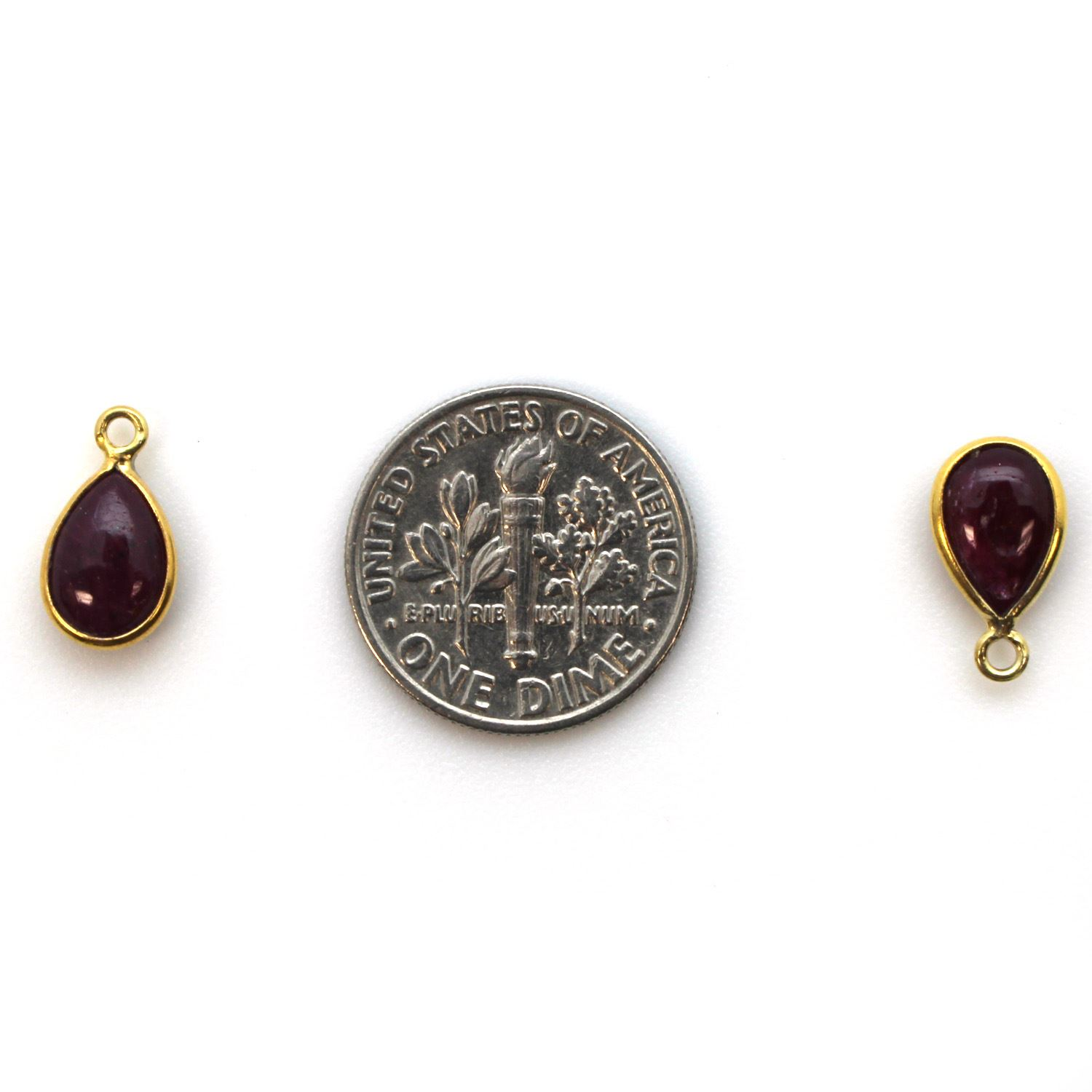 Bezel Charm Pendant - Gold Plated Sterling Silver Charm - Natural Ruby - Tiny Teardrop Shape