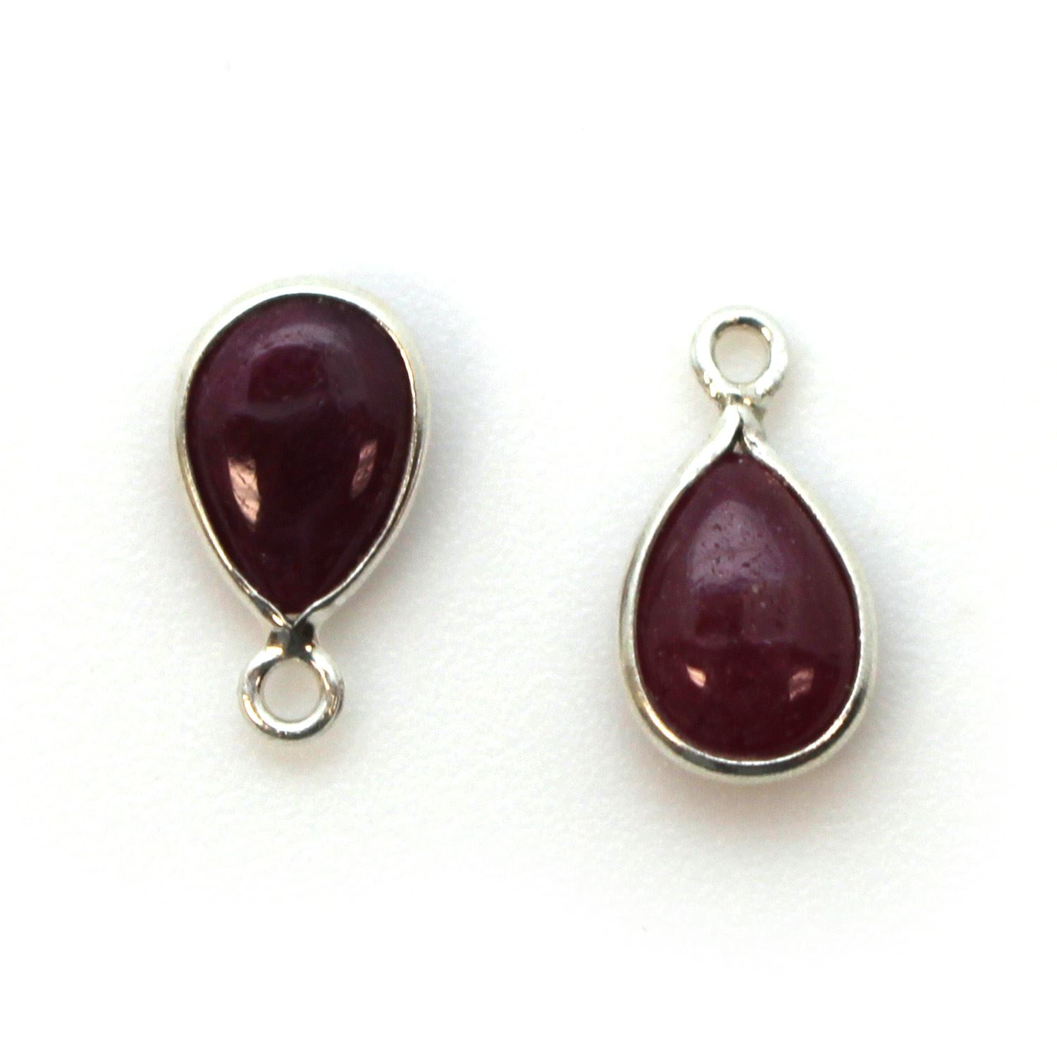 Bezel Charm Pendant - Sterling Silver Charm - Natural Ruby - Tiny Teardrop Shape