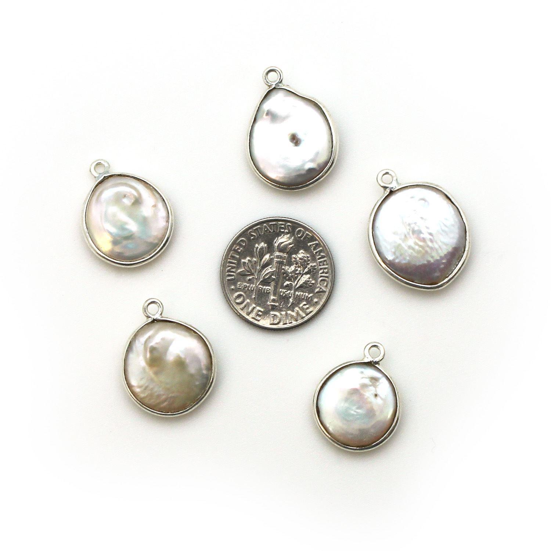 Bezel Gemstone Pendant - Sterling Silver Bezel- 15mm Smooth Coin Shape - White Freshwater Pearl Bezel ( Sold per 1 piece)