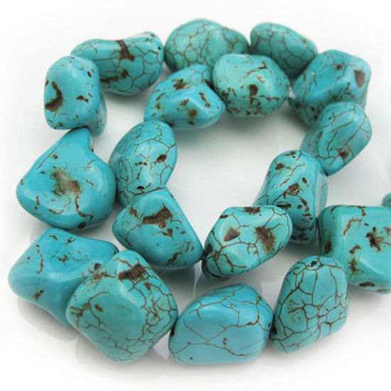 Blue Howlite Beads - Freeform Shape (sold per strand)