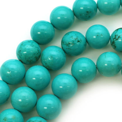 Smooth Round Blue Howlite Beads - 10mm (Sold Per Strand)