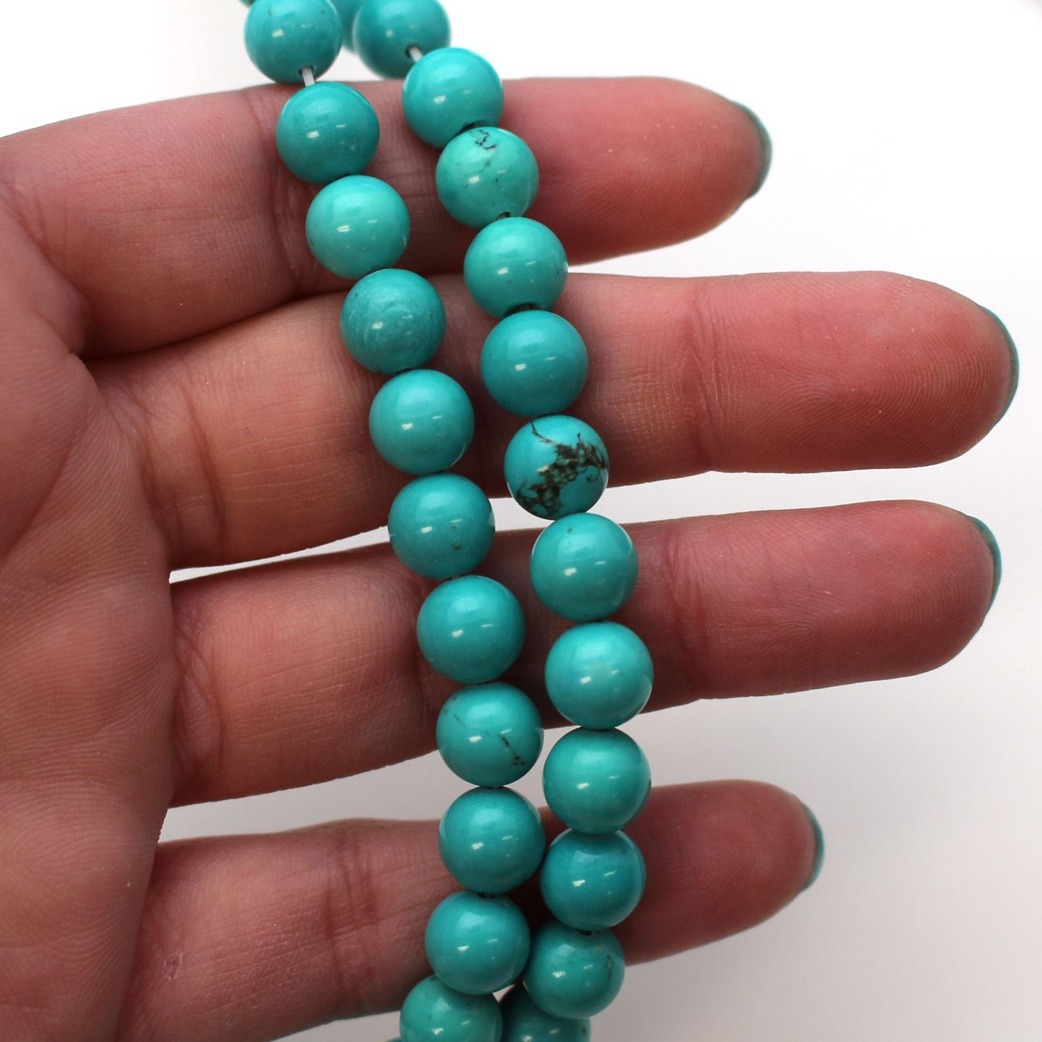 Smooth Round Blue Howlite Beads - 8mm (Sold Per Strand)
