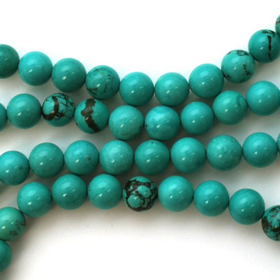 Smooth Round Blue Howlite Beads - 6.5mm (Sold Per Strand)