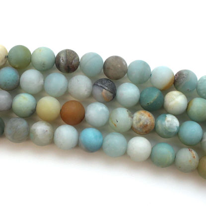 Rainbow Amazonite Beads - 8mm Frosted Multi-Colored Round Beads (Sold Per Strand)