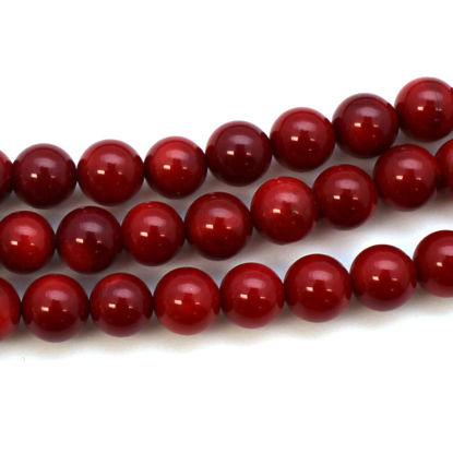 Red Coral Beads-Smooth Round Beads 7.5mm (sold per strand)