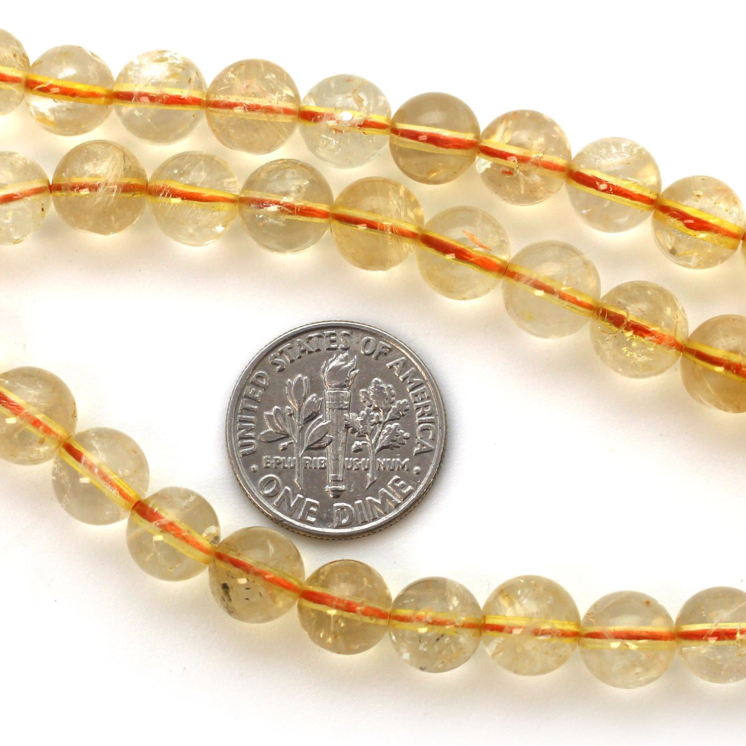 Natural Citrine Stone Beads - Smooth Round 8mm Beads (sold per strand)