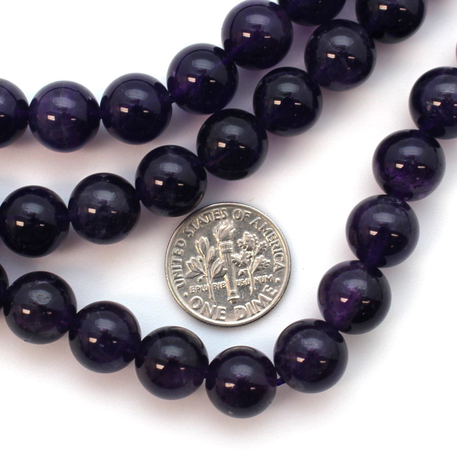 Smooth Round Amethyst Beads - 10mm (Sold Per Strand)