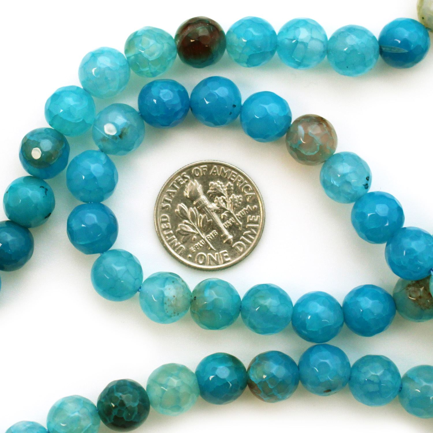Teal Blue Agate Beads - Faceted Round 8mm (Sold Per Strand)