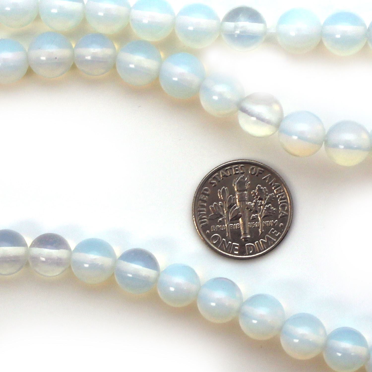 Smooth Round Opalite Beads - 8mm (Sold Per Strand)