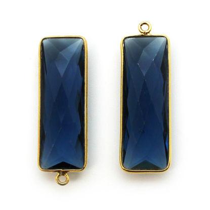 Bezel Charm Pendant-Gold Plated Charm-Blue Iolite Quartz -Elongated Rectangle Shape-34 by 11mm (Sold per 2 pieces)