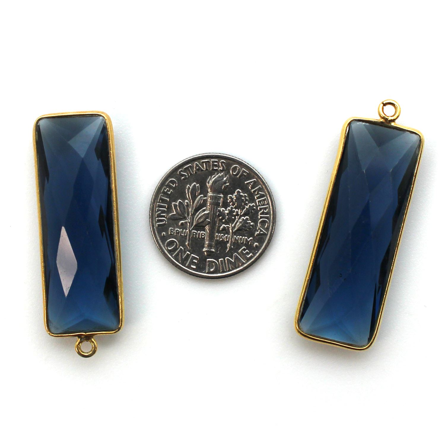 Bezel Charm Pendant-Gold Plated Charm-Blue Iolite Quartz -Elongated Rectangle Shape-34 by 11mm (Sold per 2 pieces)