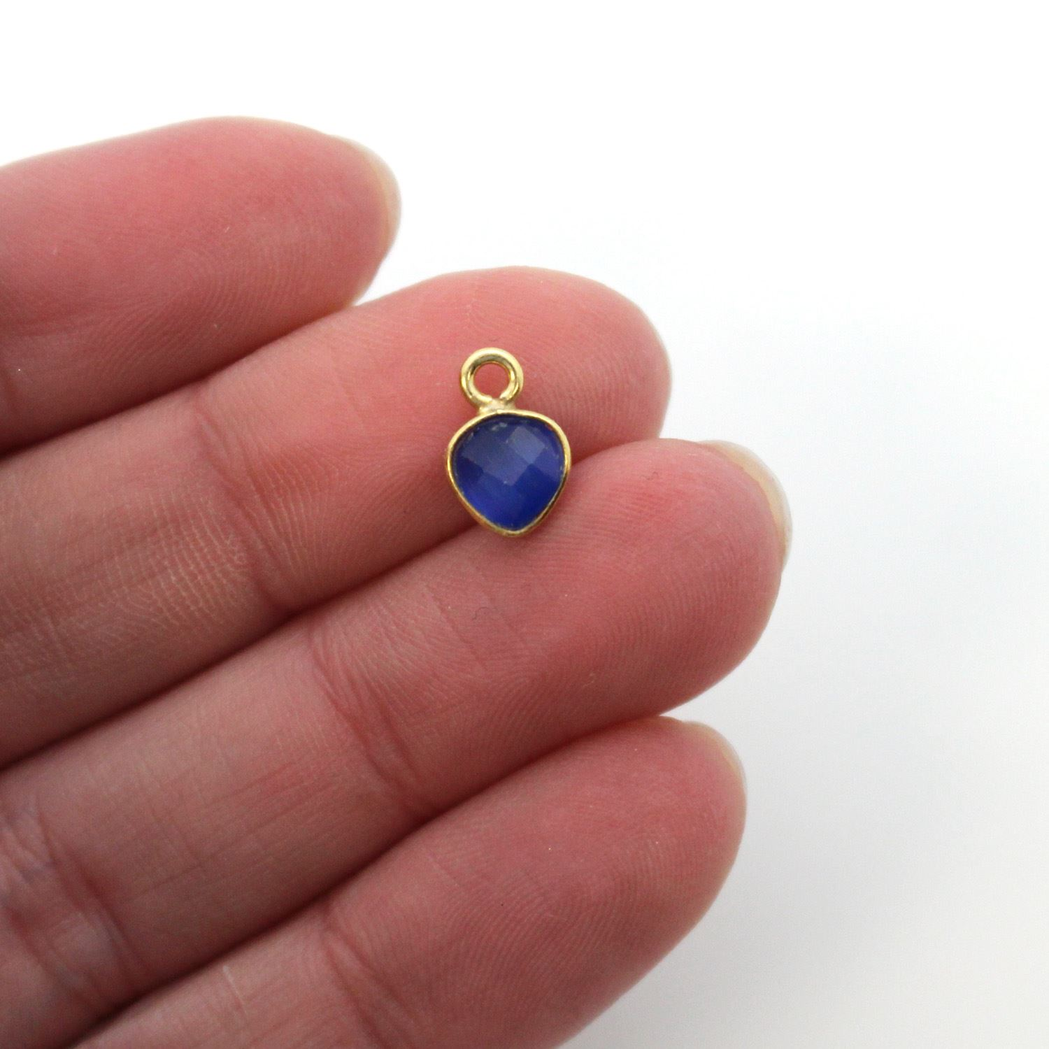 Bezel Gem Pendant-Gold Plated Sterling Silver- 10x7mm Tiny Heart Shape- Blue Monalisa (sold per 2 pieces)