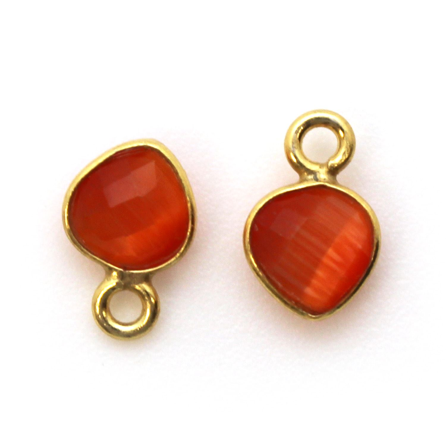 Bezel Gem Pendant-Gold Plated Sterling Silver- 10x7mm Tiny Heart Shape- Orange Monalisa (sold per 2 pieces)