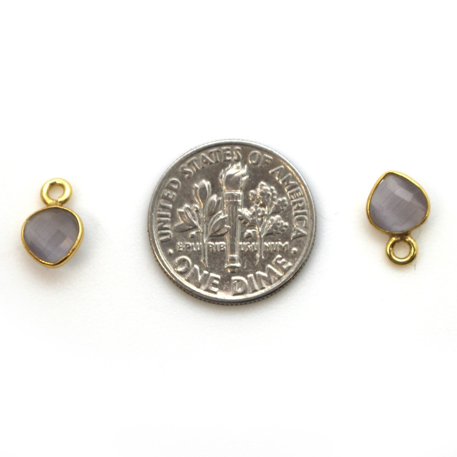 Bezel Gem Pendant-Gold Plated Sterling Silver- 10x7mm Tiny Heart Shape- Grey Monalisa (sold per 2 pieces)