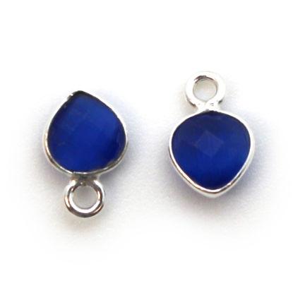 Bezel Gem Pendant- Sterling Silver- 10x7mm Tiny Heart Shape- Blue Monalisa (sold per 2 pieces)