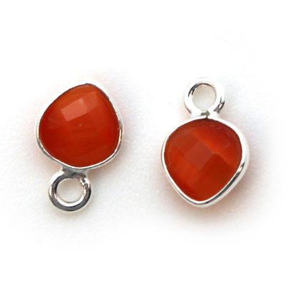 Bezel Gem Pendant- Sterling Silver- 10x7mm Tiny Heart Shape- Orange Monalisa (sold per 2 pieces)