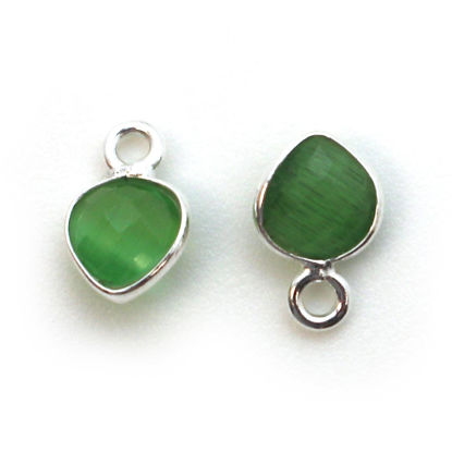 Bezel Gem Pendant- Sterling Silver- 10x7mm Tiny Heart Shape- Green Monalisa (sold per 2 pieces)