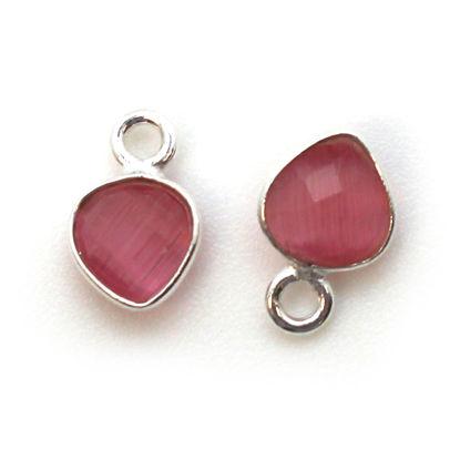 Bezel Gem Pendant- Sterling Silver- 10x7mm Tiny Heart Shape- Pink Monalisa (sold per 2 pieces)