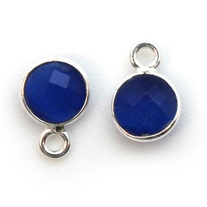 Bezel Gem Pendant-Sterling Silver-7mm Tiny Circle Shape - Blue Monalisa (sold per 2 pieces)