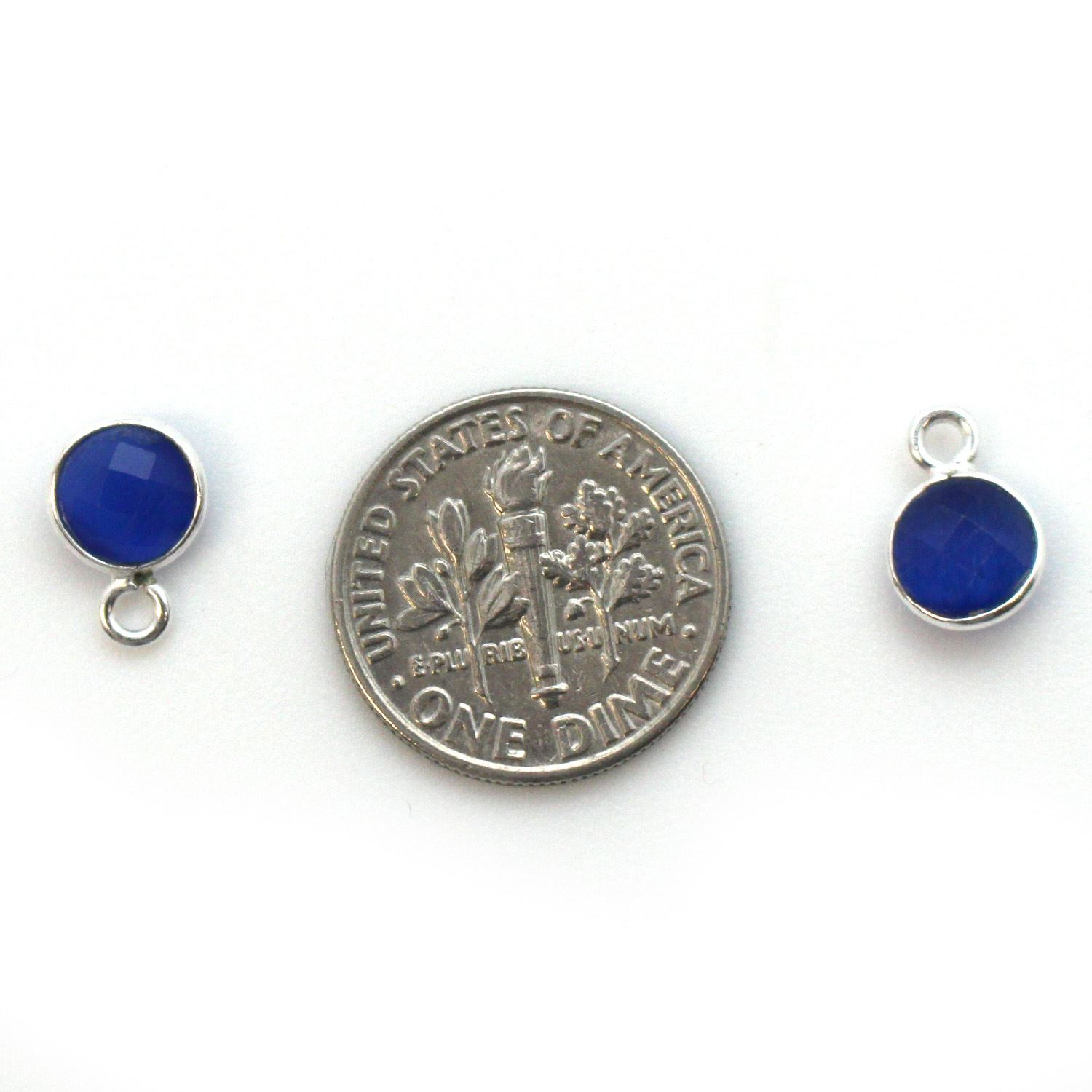 Bezel Gem Pendant-Sterling Silver-7mm Tiny Circle Shape - Blue Monalisa (sold per 2 pieces)