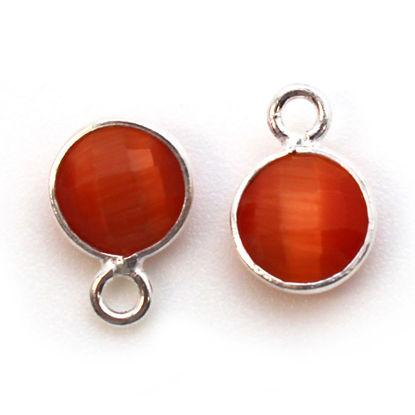 Bezel Gem Pendant-Sterling Silver-7mm Tiny Circle Shape - Orange Monalisa (sold per 2 pieces)
