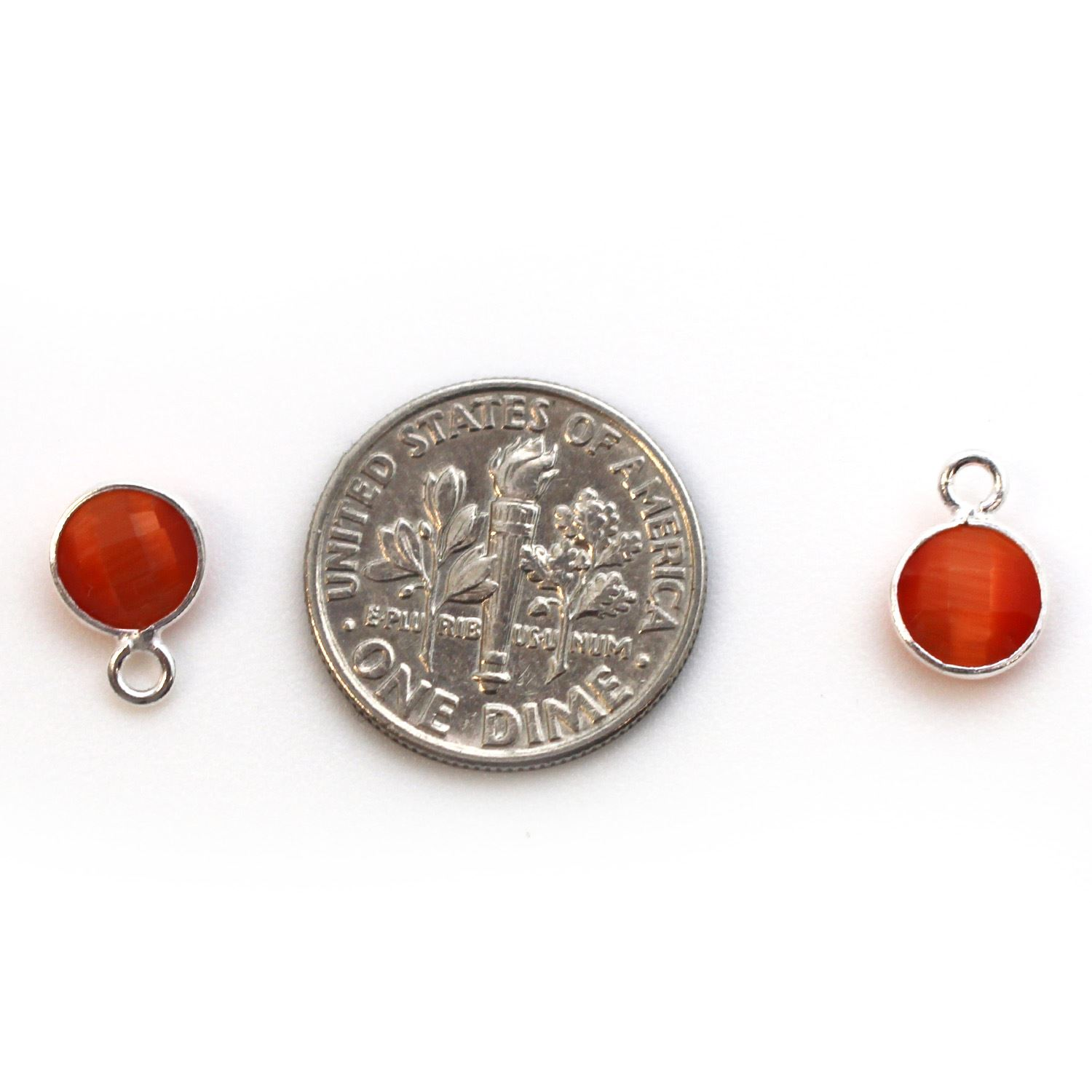 Bezel Gem Pendant-Sterling Silver-7mm Tiny Circle Shape - Orange Monalisa (sold per 2 pieces)