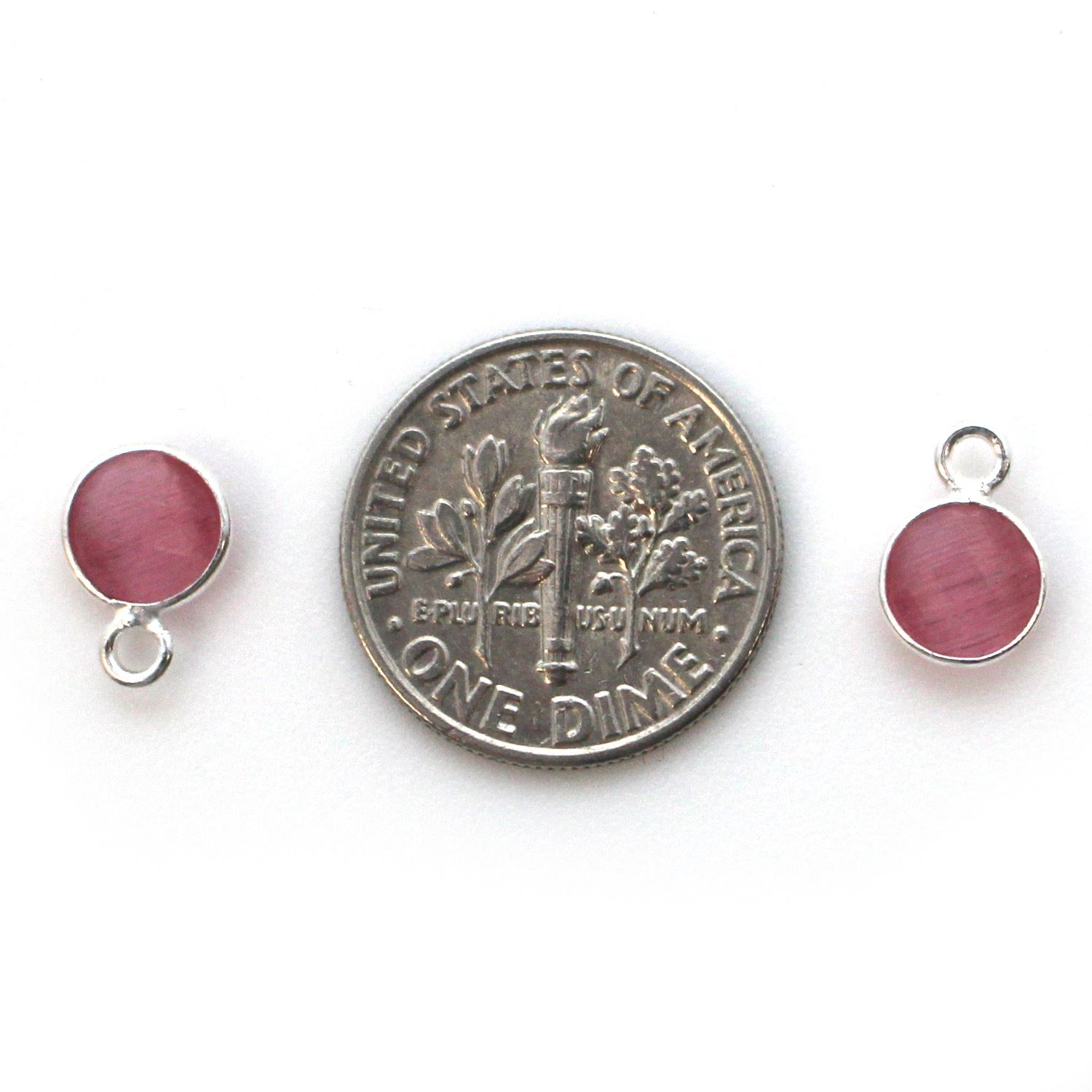 Bezel Gem Pendant-Sterling Silver-7mm Tiny Circle Shape - Pink Monalisa (sold per 2 pieces)