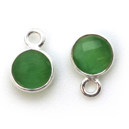 Bezel Gem Pendant-Sterling Silver-7mm Tiny Circle Shape - Green Monalisa (sold per 2 pieces)