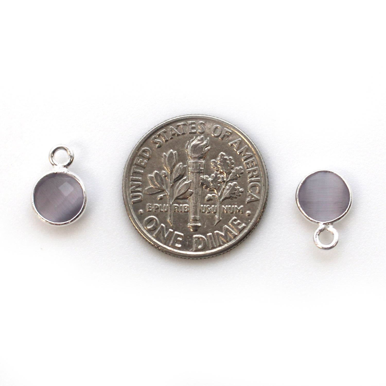 Bezel Gem Pendant-Sterling Silver-7mm Tiny Circle Shape - Grey Monalisa (sold per 2 pieces)